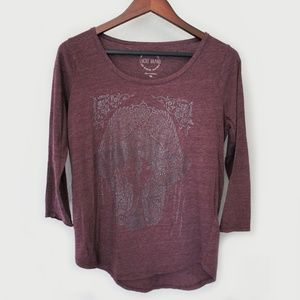 Lucky Brand Burgundy Ganesh 3/4 Tee Shirt Medium